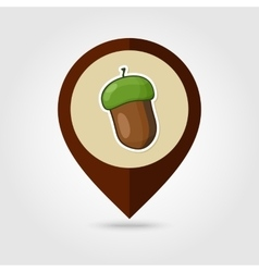 Acorn mapping pin icon harvest thanksgiving vector