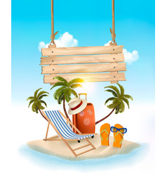 beach with palm trees and wooden sign summer vector image vector image