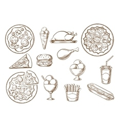 Fast food drink and desserts sketches vector image vector image