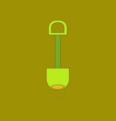 Flat icon on background kids toy shovel sand vector