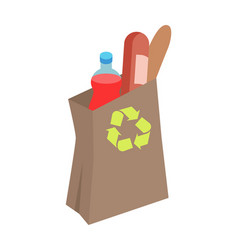 recyclable paper bag with food isometric vector image
