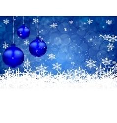 Three blue shiny ball on a beautiful Christmas vector image vector image