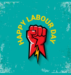 1 may happy labour day label with strong vector image