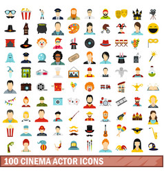 100 cinema actor icons set flat style vector