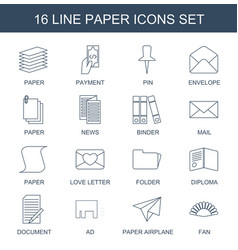 16 paper icons vector