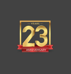 23 years anniversary logo style with golden vector