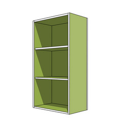 3d image - simple green cabinet with shelves vector