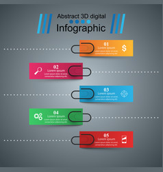 3d infographic design template and clip pin icons vector image