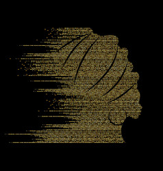 African woman gold glitter luxury background vector