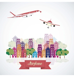 Airplane icons aircraft in city vector