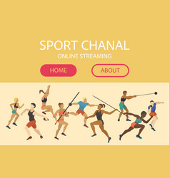 athlete man and woman banner web design vector image