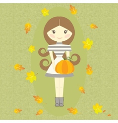 Autumn Girl Holding Pumpkin Fall Symbols Leaves vector image