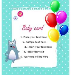 Baby Happy birthday card blue vector image