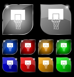 Basketball backboard icon sign Set of ten colorful vector image