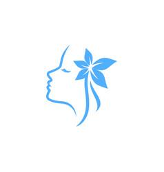 beauty spa logo design template woman silhouette vector image