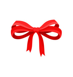 big bow made of red satin ribbon bright decor for vector image