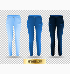 Blank leggings mockup set blue and denim on vector