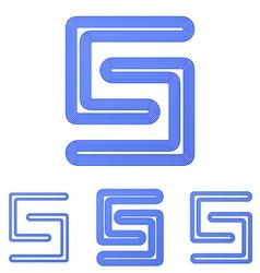 Blue line s logo design set vector