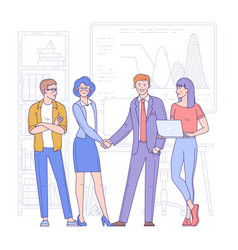 Business people shake hands vector