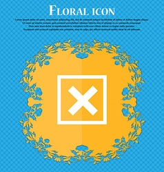 Cancel Floral flat design on a blue abstract vector image