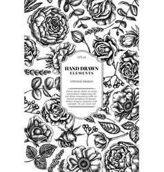 Card design with black and white roses anemone vector