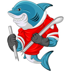 cartoon shark mascot wearing a hockey jersey while vector image