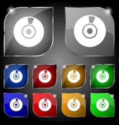 CD or DVD icon sign Set of ten colorful buttons vector image