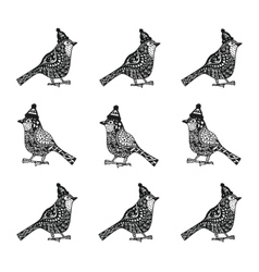 Christmas birds with hats entangle pattern vector