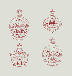 Christmas cribe scene set vector