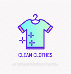 clean t-shirt on hanger thin line icon vector image