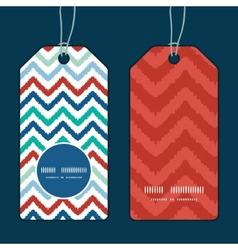 colorful ikat chevron vertical round frame pattern vector image