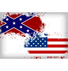 Confederate flag vs Union flag Civil war concept vector