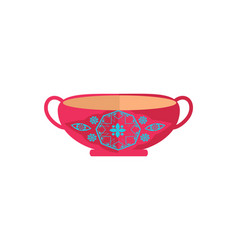 Cute pottery bowl with pretty ornament color card vector