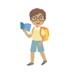 Cute schoolboy wearing glasses carrying backpack vector