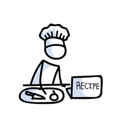Cute stick figure chef cooking recipe on laptop vector