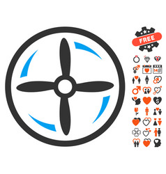 Drone screw rotation icon with valentine bonus vector