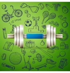dumbbell and hand draw sport icon vector image