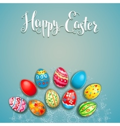 Easter eggs on a lace vector