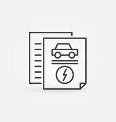 electric car documents outline icon vector image