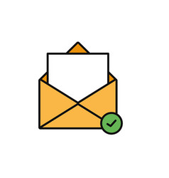 Email message check internet flat line style vector