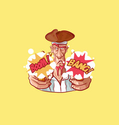 emoji sticker captain mascot shoot pistol vector image