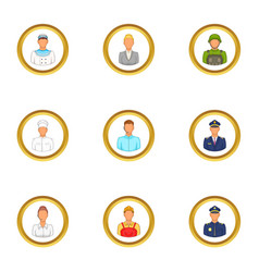 Employee icons set cartoon style vector