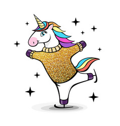 fantasy skating unicorn cartoon style vector image