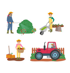 Farming people tractor driver and woman harvesting vector