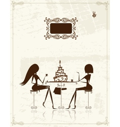 Fashion girls in cafe for your design vector image