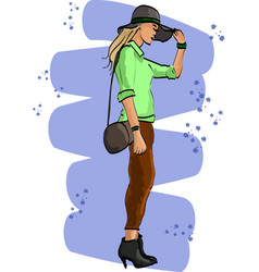 fashion sketch with young woman in hat vector image
