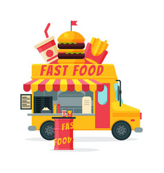 fast food truck street meal van delivery mobile vector image