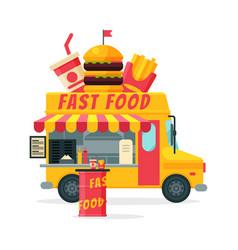 Fast food truck street meal van delivery mobile vector