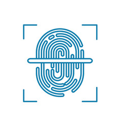 fingerprint scanning linear icon concept vector image