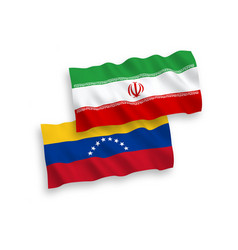 Flags venezuela and iran on a white background vector